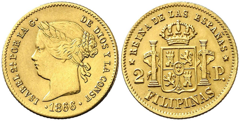 1866 2 Pesos Isabel the Second by the Grace of God Philippine Resealed Coin