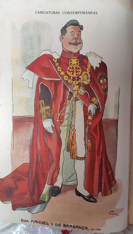 Manuel Braganza King of Portugal - Cartoon of Cao Luaces -1910