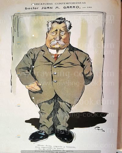 cartoon of Juan garro- caras y Caretas 1910 - Cao Luaces - The Best Argentine Cartoonist