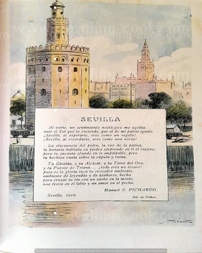 Gold Tower - Sevilla - Spain - Ancient Ad - caras y Caretas 1910 Argentine Magazine #spain
