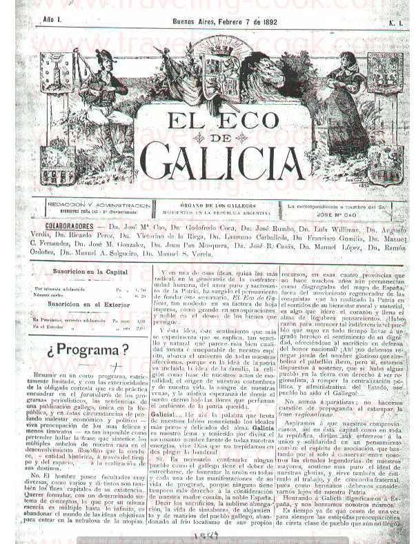 Eco de Galicia Newspaper number one - Founded by Jose Maria Cao Luaces