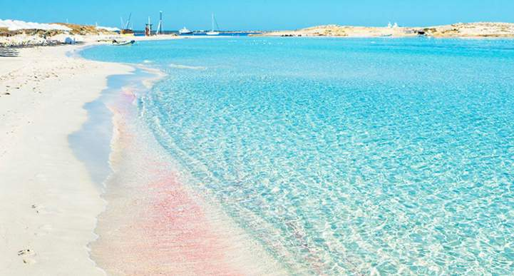 Beach of Ses Illetes, Spain Another best pink beach