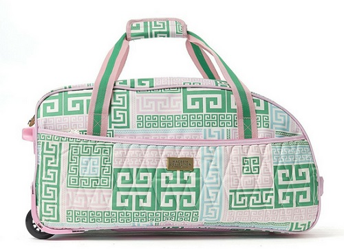 Macbeth PrepSet 21.5in Rolling Duffel Bag, Green and Pink- -Useful Travel Accessories for Women in 2019