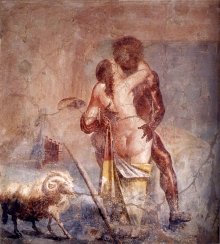 House of the caccia antiqua. Tablinum. Fresco by Polyphemus and Galatea - Pompeii
