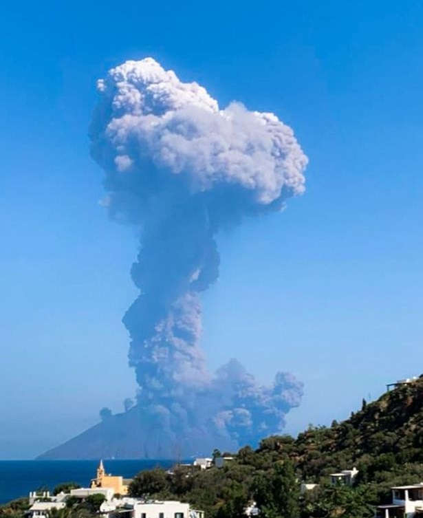 Stromboli Volcano, southern Italy, erupting on July 3, 2019