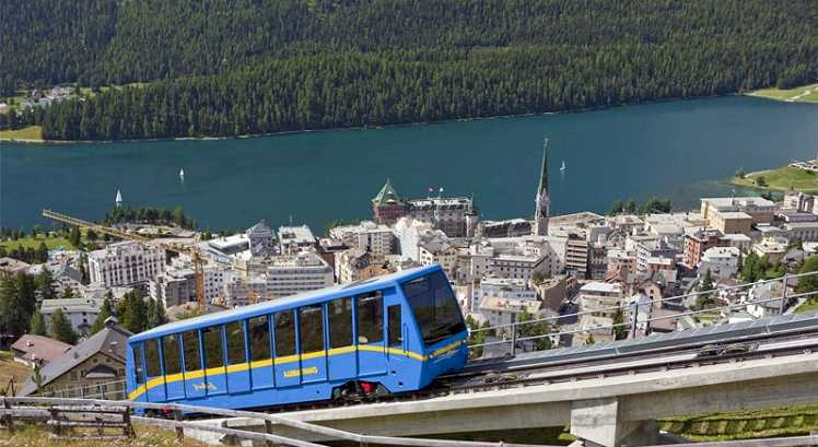 Funicular -Meadows, Snow and Mountains in Saint Moritz