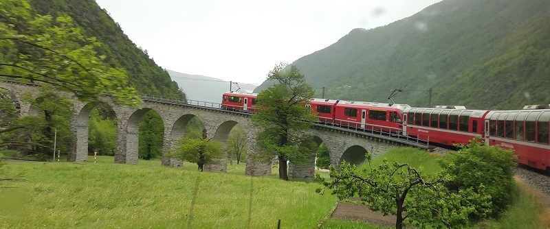 Bernina Express -Meadows, Snow and Mountains in Saint Moritz