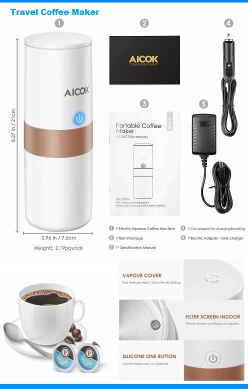Aicok portable Coffee maker -Travel Espresso Makers 2020