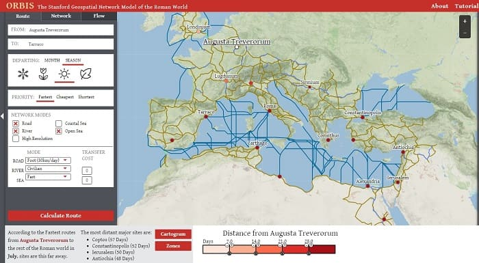 Roman Empire: Roads Calculator and Trade Network