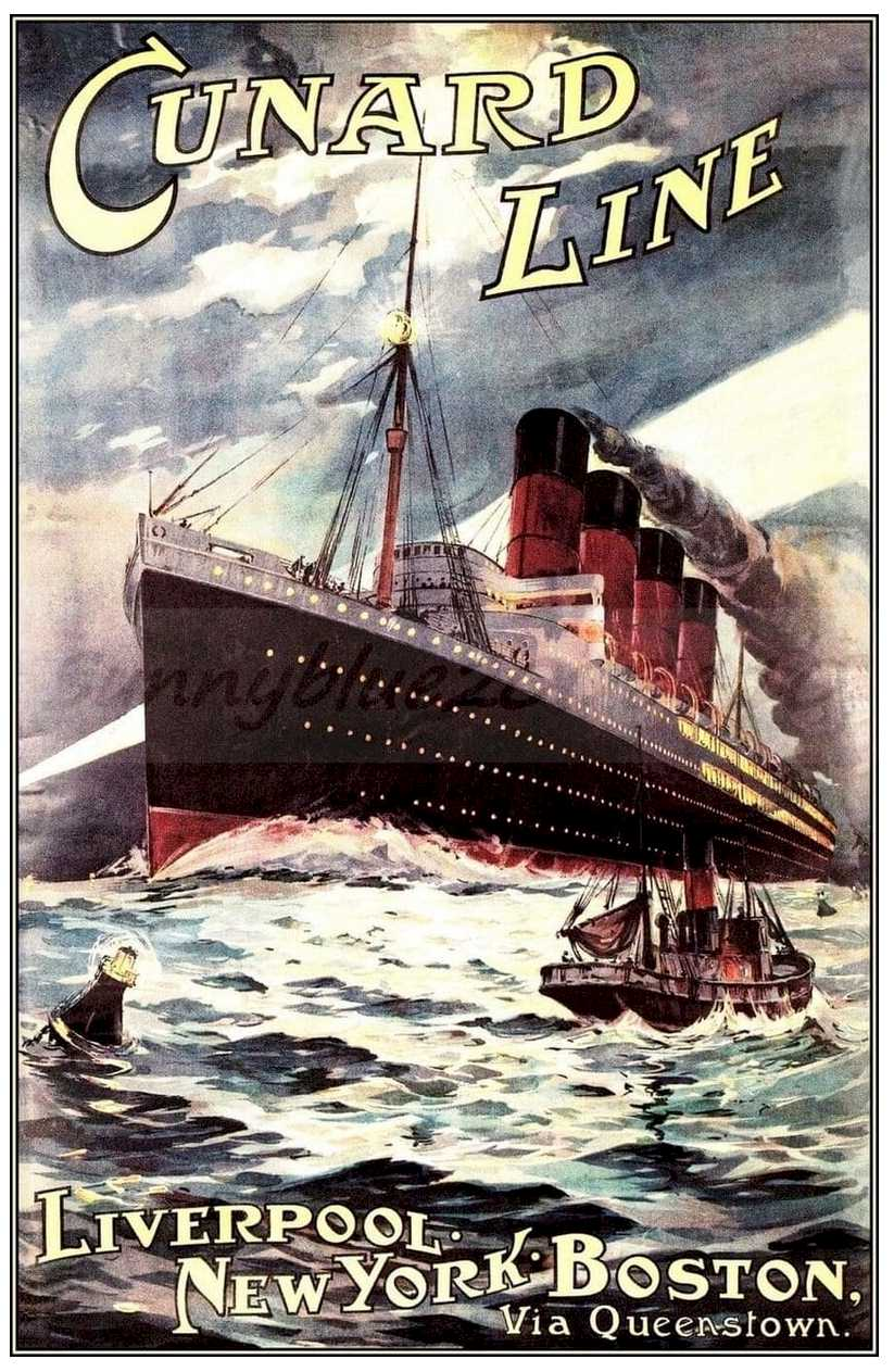 Cunard Line - History of Vessels Travel Ads 1890-1930