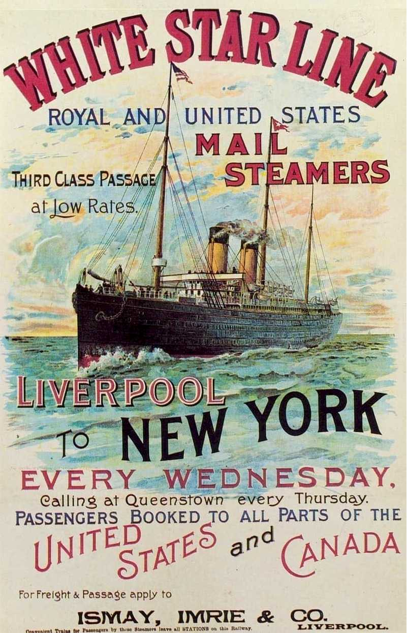 White Star Line - History of Vessels Travel Ads 1890 -1930