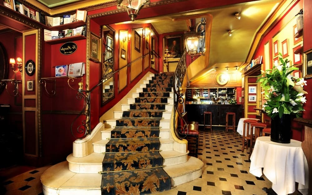 Stairs of Procope Coffee Shop in Paris France