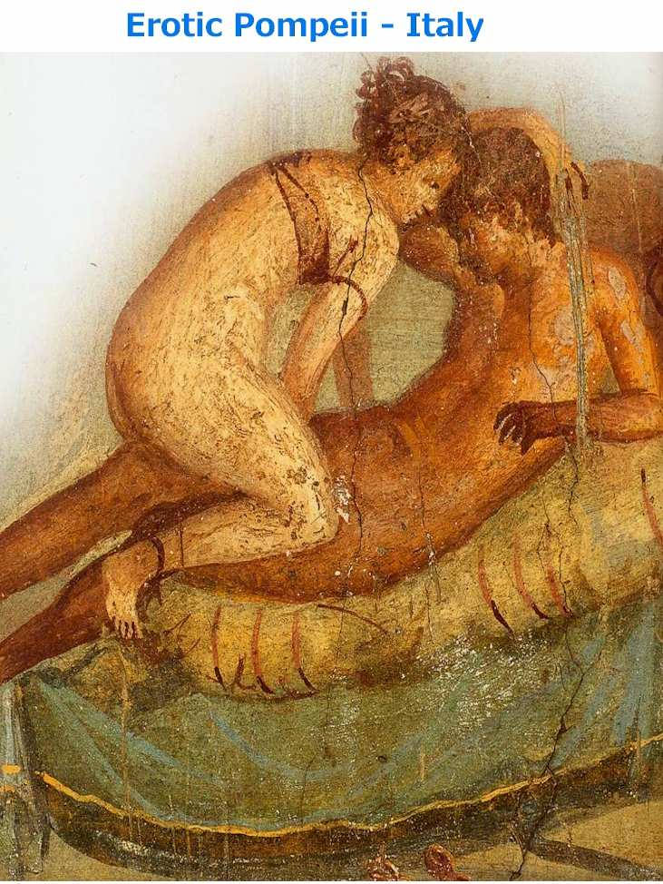 Centennial House - Fresco of the two lovers-EErotic Pompeii: Traveling to a Different Pompeii, we will answer that question.  Pompeii is located in the south of Italy. barely two hours away by train from Rome