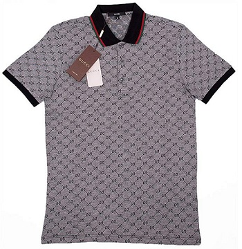 Gucci 2020 Polo T-Shirt, Mens Gray Short Sleeve