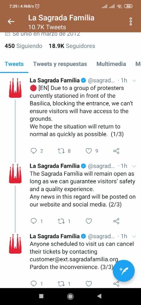 Cerro La Sagrada Familia por los disturbios en Barcelona