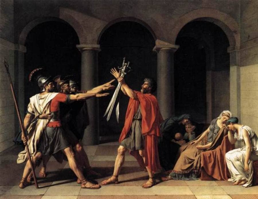Jacques Louis David: - Oath of the Horatii - 1784 The Louvre. - #museum #art #painting