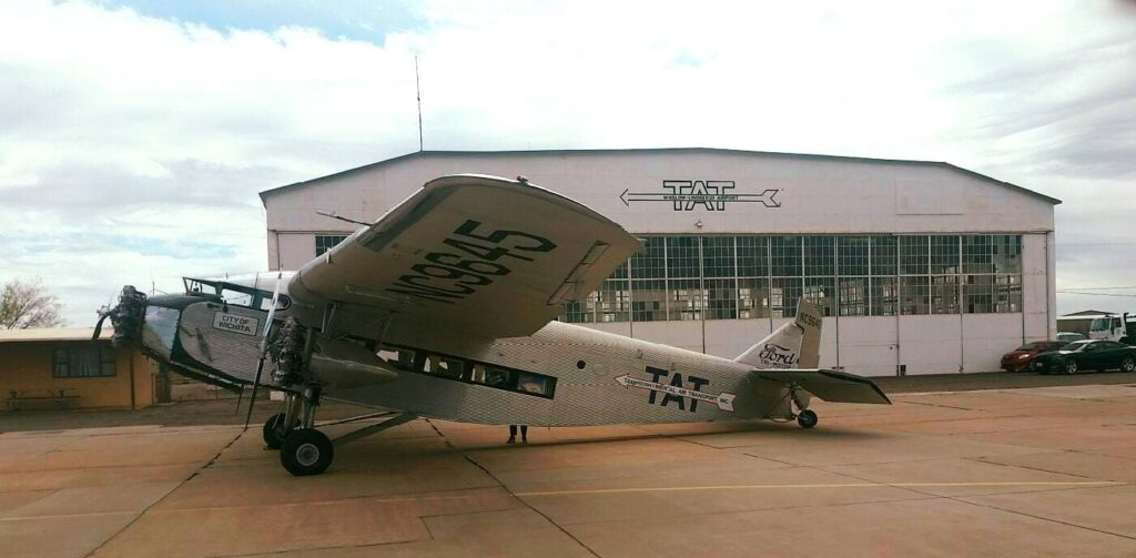 "Liberty Aviation Museum's 1928 Ford Tri-Motor ""City of Port Clinton""/""City of Wichita"" stopped off in Winslow, Arizona"