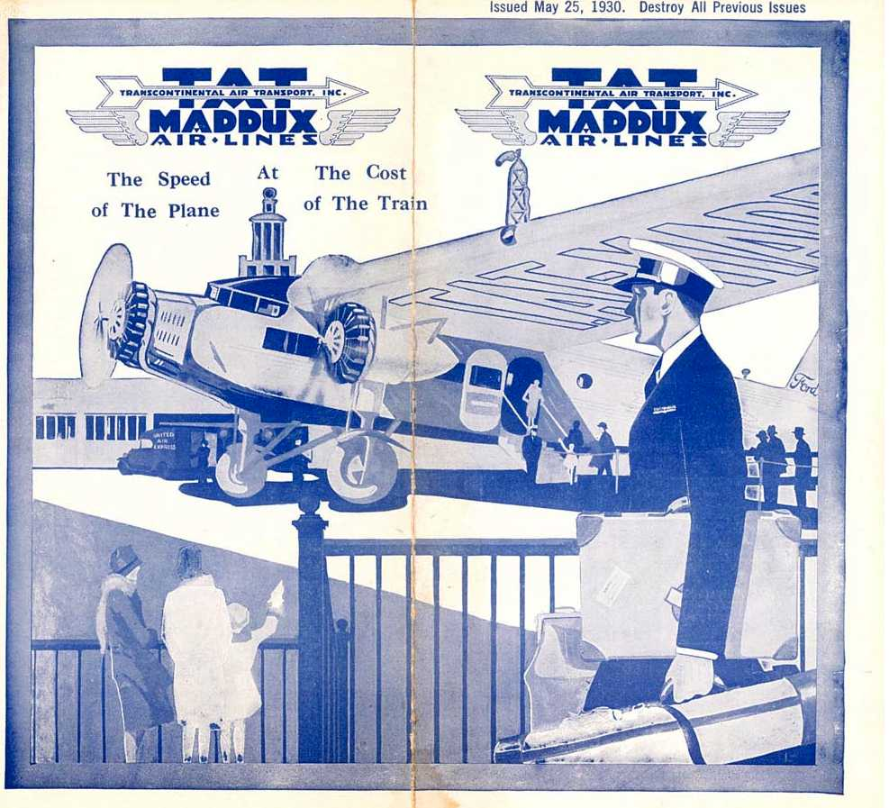 Maddux AirLine - US History of Tourism - TAT - Lindbergh Line - Ford Tri-Motor T - Transcontinental Air Transport