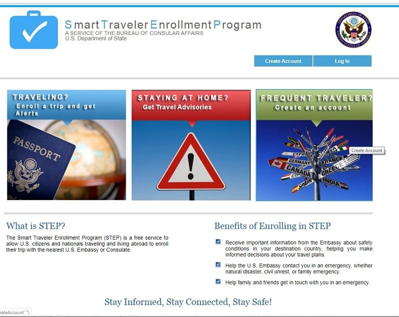 US Department State Travel Advisory - STEP