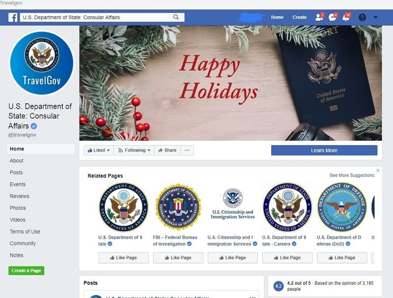 US Department State Travel Advisory - Facebook