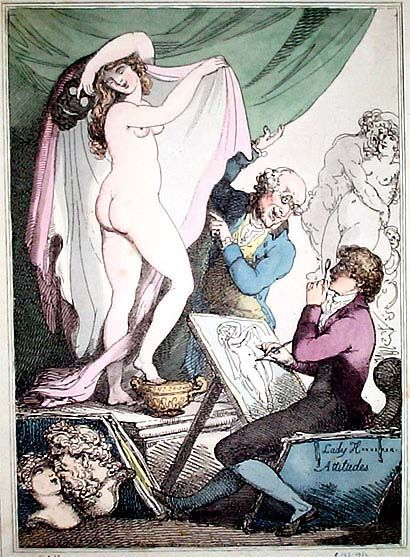 Thomas Rowlandson Erotic Prints: T.R. was born in Old Jewry, a London Jewish quarter, the son of a merchant. He entered the Royal Academy and at 17 he traveled to Paris to study. He toured all over Europe making drawings and notes of other cultures