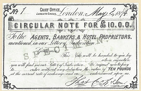 Circular NOTE History of Tourism Traveler's Checks
