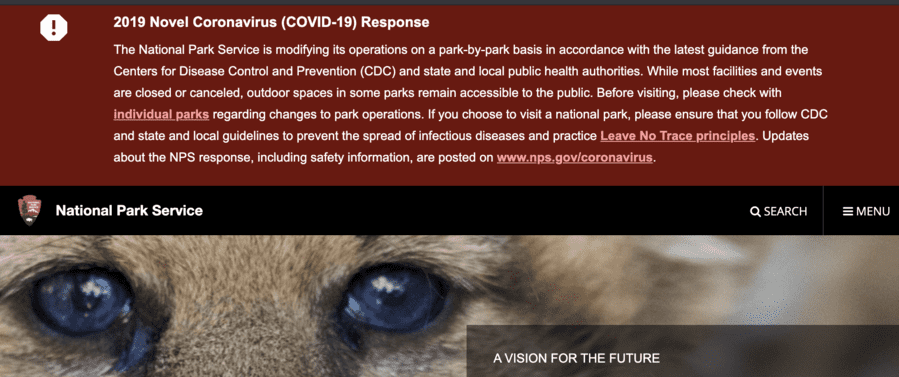 cdc guidelines for coronavirus 2020 National Park Service Info