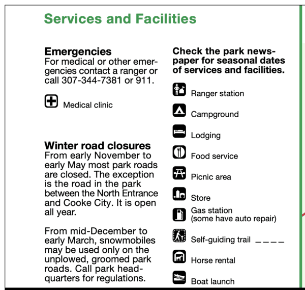 Yellowstone National Park Services and Facilities