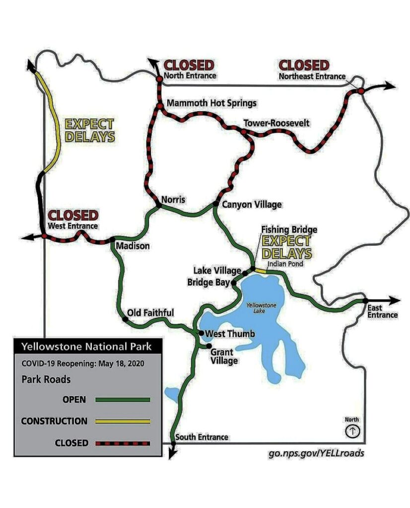 Yellowstone 2020 Reopening Plan COVID-19 - Map