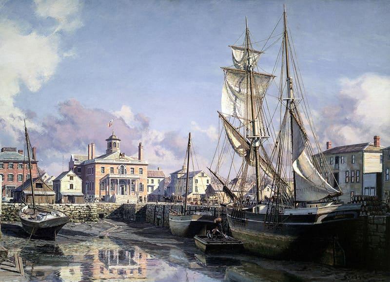 Scrimshaw Gallery: Salem: Derby Wharf and the Custom House c. 1825