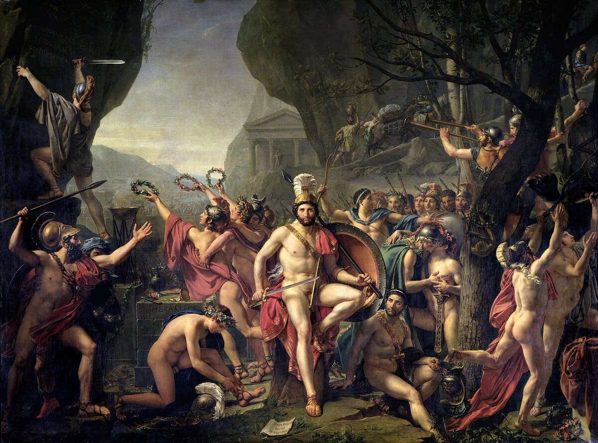 Leonidas at Thermopylae  is an oil-on-canvas painting by French artist Jacques-Louis David. The work currently hangs in the Louvre in Paris, France. David completed the massive work (3.95 m × 5.31 m) 15 years after he began, working on it from 1799 to 1803 and again in 1813–1814.Leonidas at Thermopylae was purchased, along with The Intervention of the Sabine Women, in November 1819 for 100,000 francs by Louis XVIII, the king of France