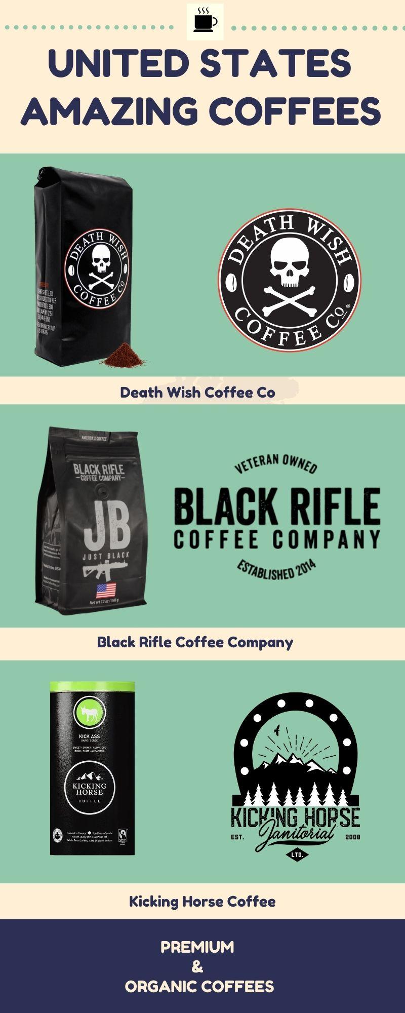 Premium & Organic Coffees - Black Rifle Coffee company - Death Wish Coffee - Kicking Horse #Coffe
