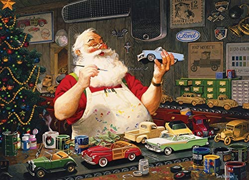 Cobblehill 80046 1000 pc Santa Painting Cars Puzzle -High Quality #Jigsaw #puzzle 1000 piece puzzle Suitable for the whole family #santa #christmas #decor