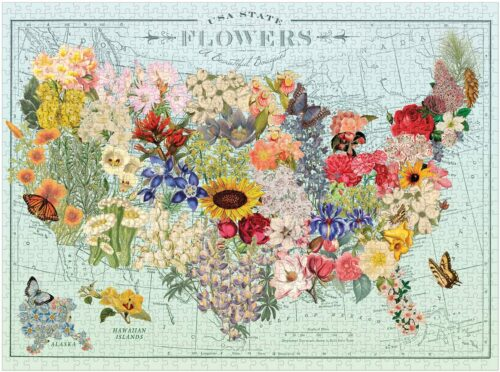 """Galison Wendy Gold USA State Flowers #Puzzle, 1,000 Pieces, 20"""" x 27"""" – #Jigsaw Puzzle Featuring a Colorful Illustration by Wendy Gold – Thick Sturdy Pieces, Challenging #Family Activity, Great #Gift #Idea #christmas #love"""