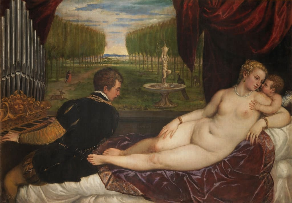 """Venus recreating herself with Love and Music"", by Titian, part of the exhibition ""Splendor, myth and vision: nudes of the Prado"" Nude in Art Renaissance"