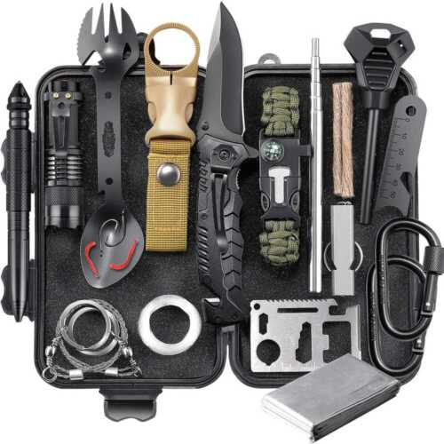 Survival Gear Kit, Emergency EDC Survival Tools 24 in 1 SOS Earthquake Aid Equipment, Cool Top Gadgets Valentines Birthday Gifts for Men Dad Him