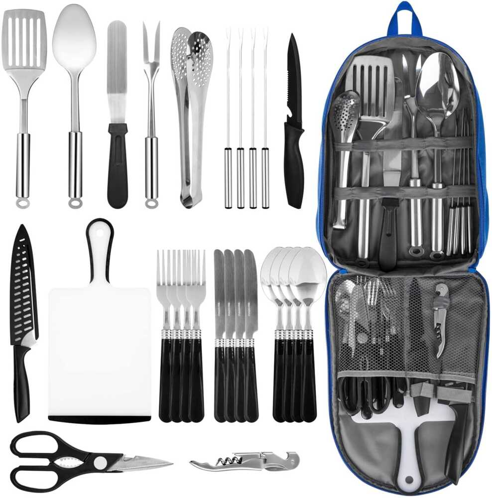 Portable Camping Kitchen Utensil Set Stainless Steel Outdoor Cooking and Grilling Utensil Organizer Travel Set Perfect for Travel, Picnics, RVs, Camping