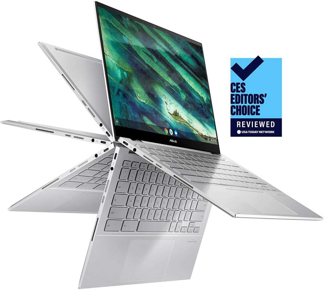 "ASUS Chromebook Flip C436 2-in-1 Laptop, 14"" Touchscreen FHD NanoEdge, Intel Core i3-10110U, 128GB PCIe SSD, Fingerprint, Backlit Keyboard, Wi-Fi 6"