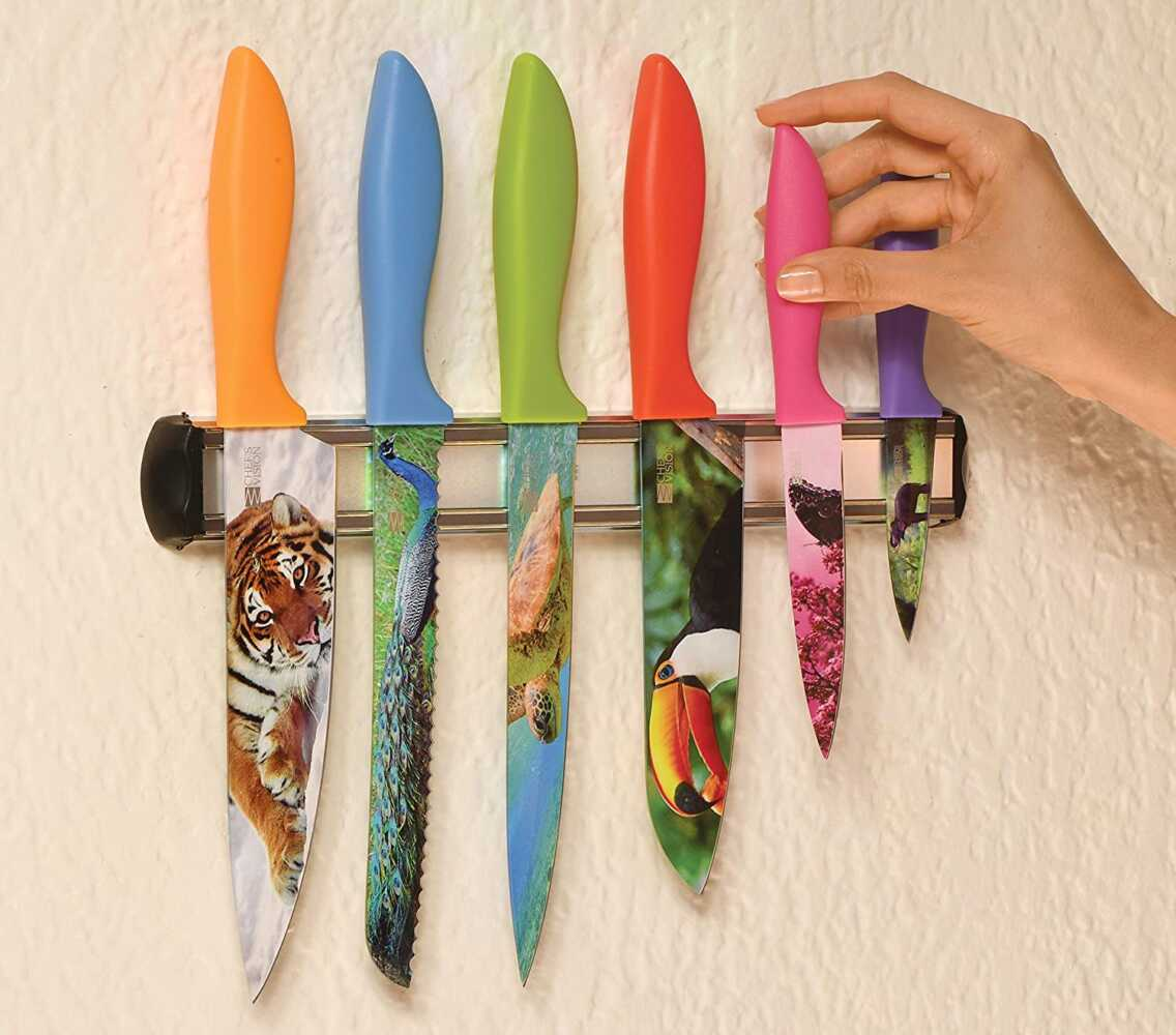 Wildlife Kitchen Knife Set in Gift Box   Cool Gifts for Animal Lovers   6-Piece Colorful Chefs Knives Set