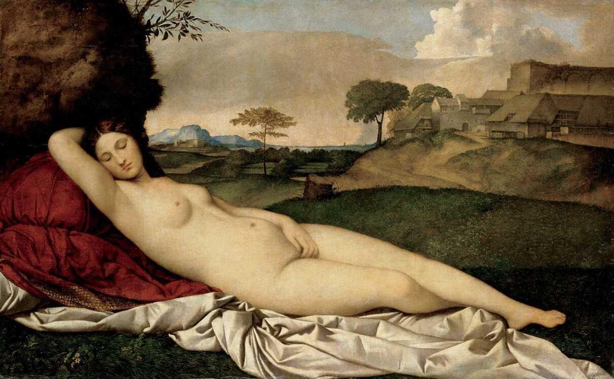 Sleeping Venus (1508). Giorgione (Giorgio Barbarelli da Castelfranco). Oil on canvas, 108.5 x 175 cm. Old Masters Picture Gallery, Dresden.
