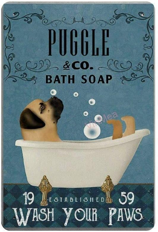 Puggle in Bathtub Bath Soap Retro Metal Tin Sign Plaque  Poster Wall Decor Art Shabby Chic Gift Suitable