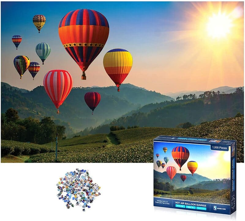 1,000 Piece Jigsaw Puzzle for Adults Kids Family Hot  Air Balloon Sunrise Jigsaw Puzzle