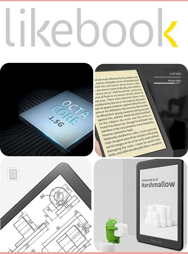 Likebook Mars eBook eReader 2021, 7.8' Carta Touch Screen,300PPI, 8Core Processor