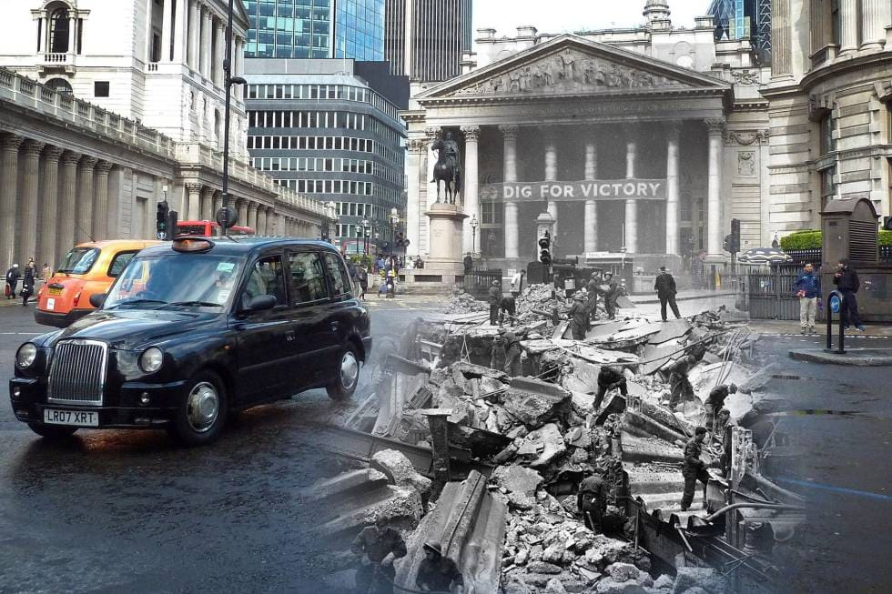 What was London Like in 1940? - Royal Exchange and Bank tube station