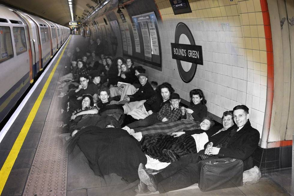 London Photos 75 Years Later - Bounds Green tube station
