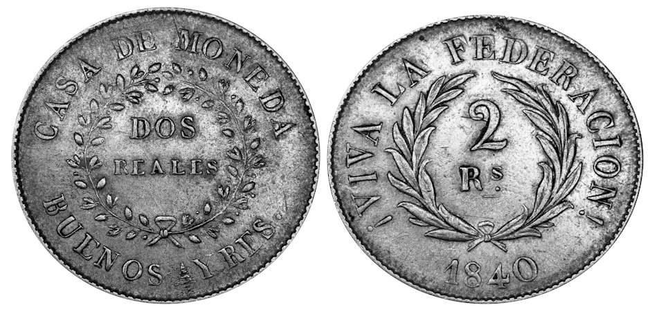 1840 Copper Coin of the Province of Buenos Aires. Government of J.M. Rosas